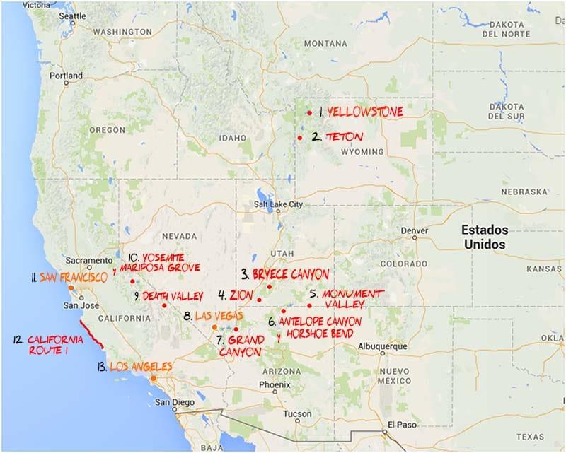que ver en la costa oeste Mapa