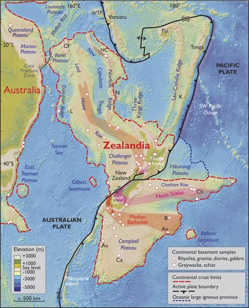 Zealandia, un nuevo contienente hundido en el Pacífico