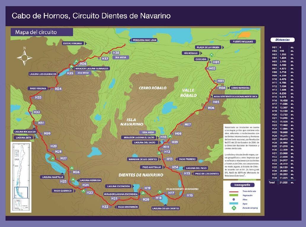 mapa ruta Dientes de Navarino