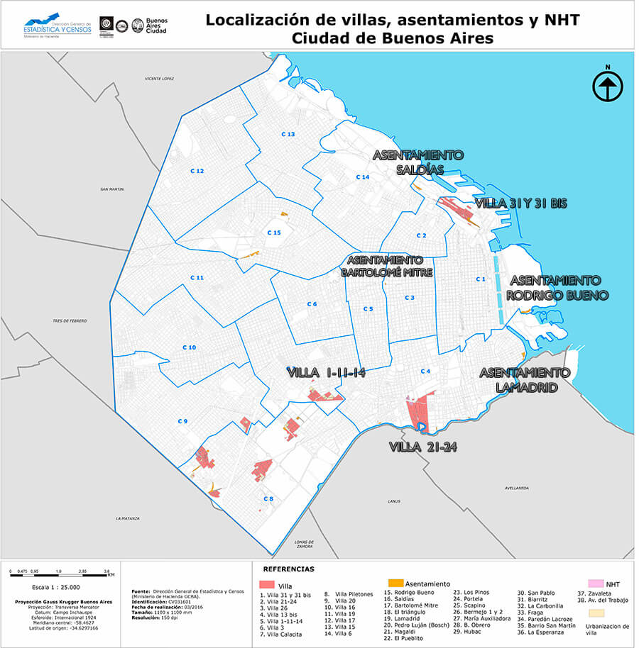 Mapa de barrios más peligrosos de Buenos Aires