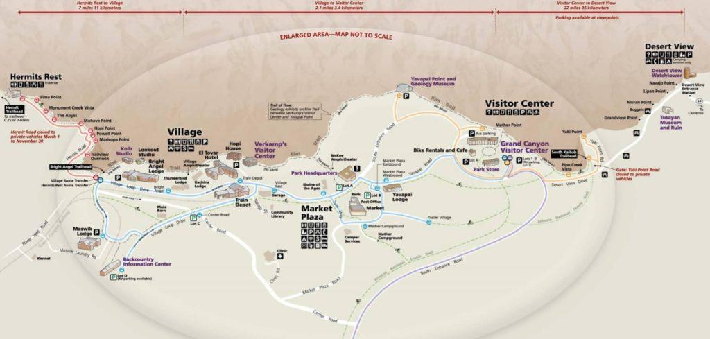 Parque Nacional del Gran Cañón mapa