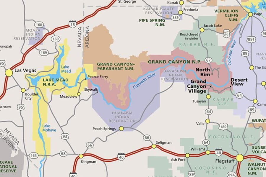 Gran Cañón del Colorado mapa