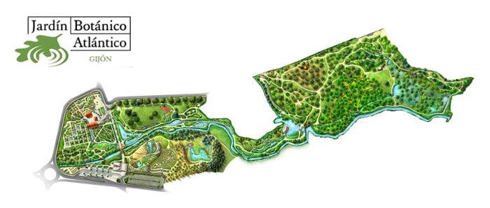 Mapa Jardín Botánico Atlántico de Gijón