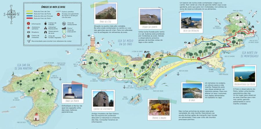 Mapa rutas senderismo Cíes