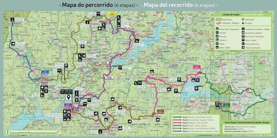 Mapa Gran Ruta Transfronteriza Gerês Xurés Galicia