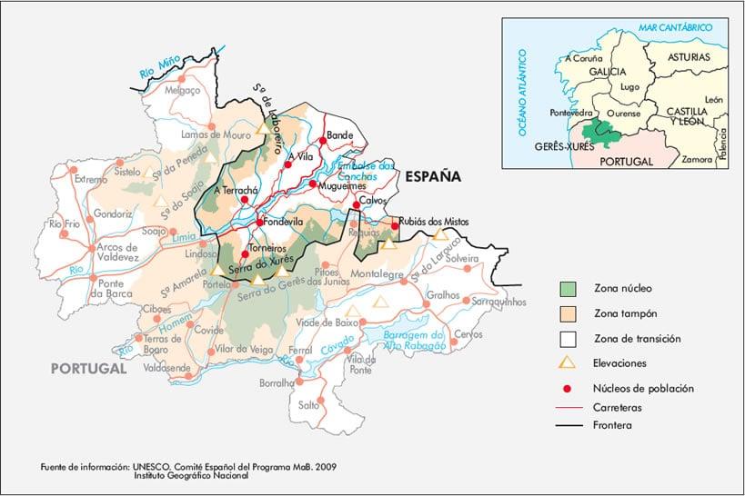 Mapa Reserva de la Biosfera Transfronteriza Gerês - Xurés