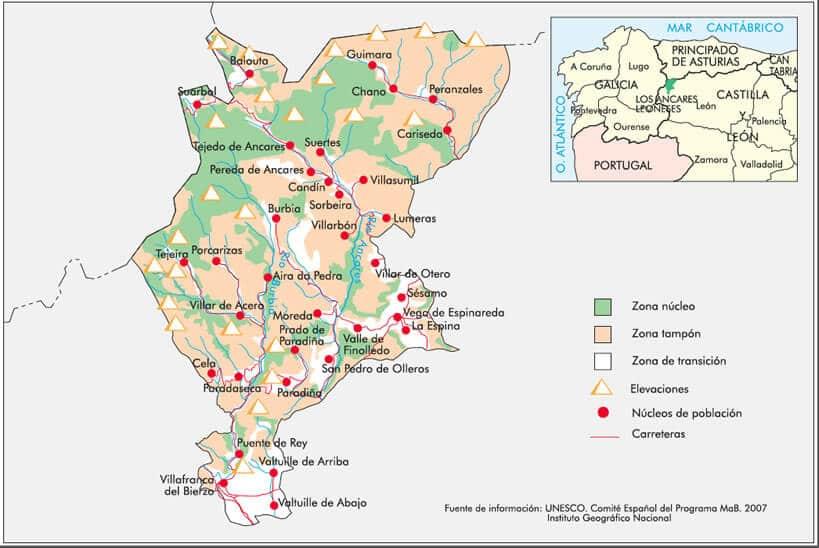 Mapa Ancares leoneses Reserva de la Biosfera