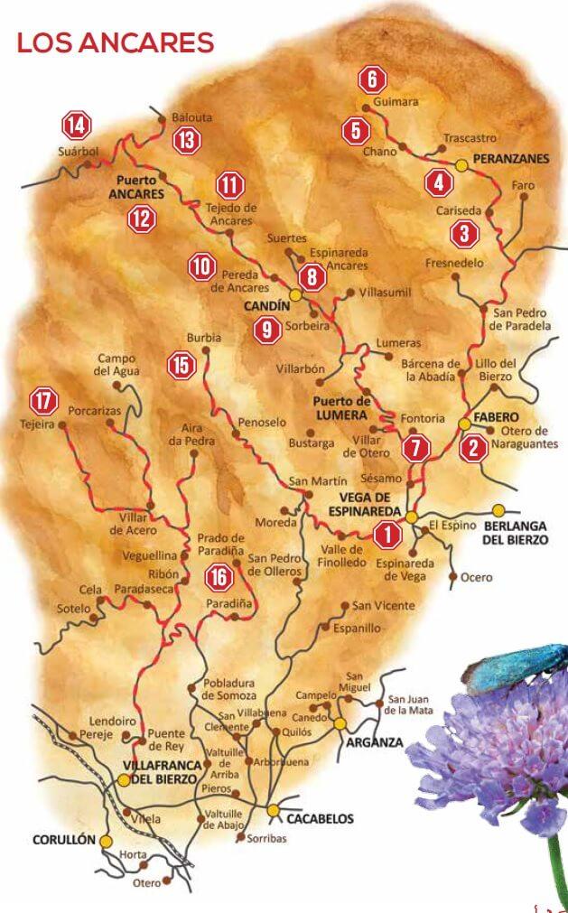 Ancares leoneses mapa de rutas en coche